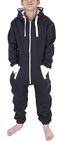 Noroze Pyjama à Capuche Mixte Combinaison Une Pièce Onesie pour Enfants Garçons Filles, Noir, 11-12