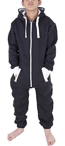 Unisex Kinder Jungs Mädchen Skeleton Halloween Fleece Kapuzen Onesie Jumpsuit 2-13 Jahre (11/12 Jahre, Einfarbig Schwarz)