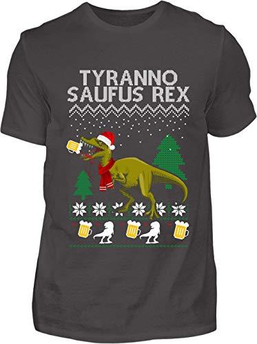 Kreisligahelden T-Shirt Herren Lustig Tyrannosaufus Rex Ugly Christmas - Kurzarm Shirt Baumwolle mit Motiv Aufdruck - Weihnachten Party Ugly Christmas Fun Saufen Bier
