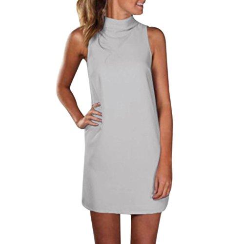 Damen Rollkragen Bluse Minikleid, ZIYOU Frauen Sommer Ärmelloses Abend Party Kleider Elegant Blusenkleid Tops Einfarbig (Grau, EU-40 / CN-S)