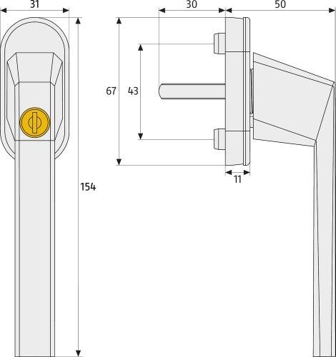ABUS Fenstergriff abschließbar FG110, weiß, 59221 - 2