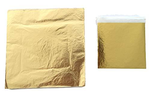 Blattgold 14x14cm oder 9x9cm - Profi-Qualität - Blattmetall Gold - Hochglänzend - einfache Verarbeitung zum Vergolden & Dekorieren & Basteln -100 o. 200 Stück- (100, 9)