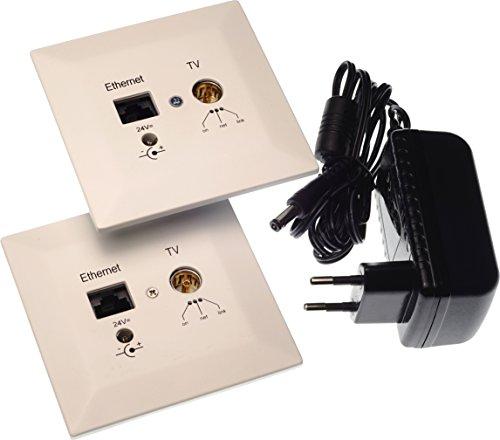Digital Devices Poli Coax 500 Starter Set - Powerline Unterputzdose (DVB-C, Netzwerk, Internet, Koaxial-Kabel) 2X Dosen + Netzteil, Weiß, 24 Volt