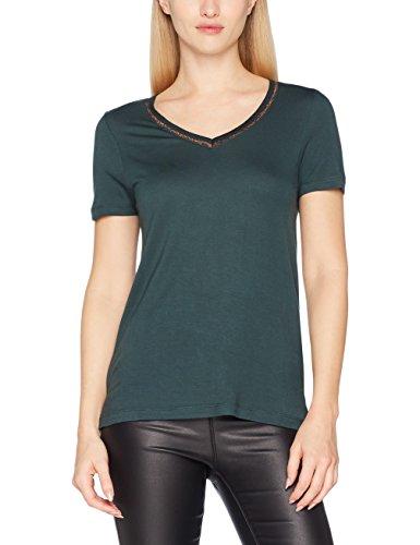 VERO MODA Damen T-Shirt Vmsporta Glitter Ss Top Jrs Grün (Green Gables Detail:Lurex)
