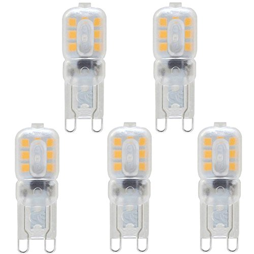 KDP G9 3W LED Lampe, Warmweiß 3000K, G9 LED Leuchtmittel Nicht Dimmbar, Ersatz für 33W G9 Halogenlampen, 270Lumen, 220-240V, G9 LED Glühlampe, 5er-Pack