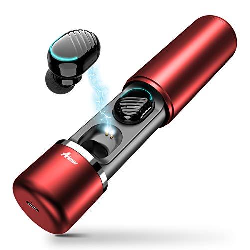 True Wireless in Ear kopfhörer, Aimus True Wireless V5.0 Kopfhörer Headphones TWS Sport Ohrhörer (Rot)