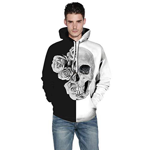 Honestyi Halloween Frauen Männer Paare 3D Print Langarm Hoodie Sweatshirt Pullover Tops XSF0329 Männer und Frauen verbinden 3D gedruckten Langarm Halloween Kapuzenpullover