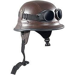 Shsyue® Casco Abierto de la Motocicleta Protección Cuero Retro de Vintage de Brown Estilo Ejército con Gafas