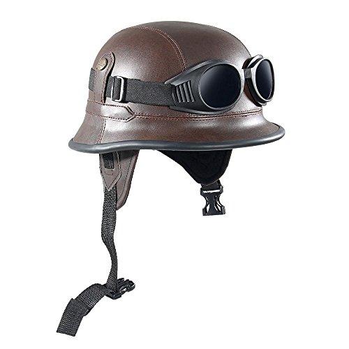 Shsyue®del motociclo halbes aperto viso casco con occhiali protettivi marrone retro vintage army style