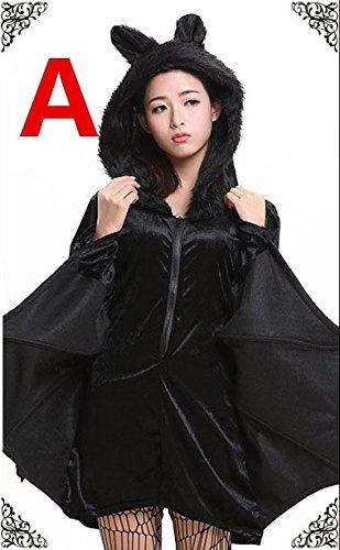 Halloween Black Bats Bühnenauftritte Cosplay Märchen Eltern Party Kleidung Festival / Halloween / Weihnachten, A, (Kostüme Black Velvet Hexe)