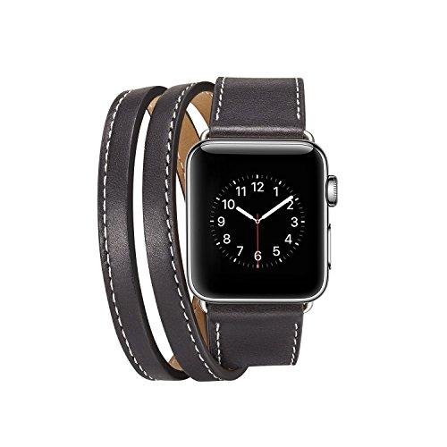 Preisvergleich Produktbild Armband für Apple Watch 42mm, PU Leder Ersatzband mit Edelstahl Gürtelschnalle Leder Uhrenarmband für Apple Watch 42mm Series 1 / 2 / 3 (* / 287) (7)