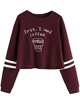 LuckyGirls Mujer Camisetas Manga Larga Carta Impresión Rayas Moda Corto Tops Blusa Sudaderas Camisas