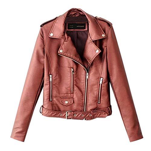 SoonerQuicker Mantel Damen Herbst Elegant Frauen Damen Revers Motor Jacke Mantel Zip Biker Short Cropped Tops Wein M -