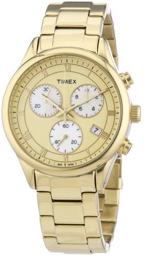 Timex Timex Style T2P159 - Reloj cronógrafo de cuarzo para mujer, correa de acero inoxidable chapado color dorado (luz, cronómetro)