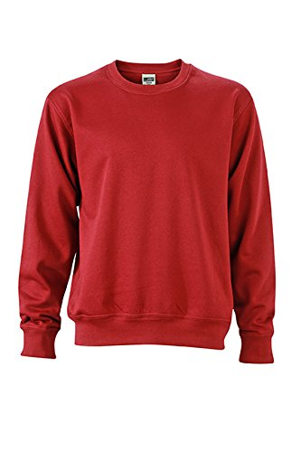 James & Nicholson Herren Workwear Sweat Sweatshirt Rot (Wine)
