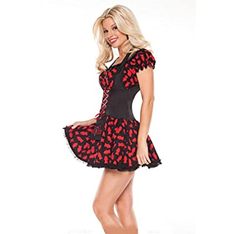 HZHF Frauen Sexy Red Verspieltes Kleid Halloween Cosplay Dämon Vampir Kostüm , red , one size (Frauen Red Devil Kostüm)