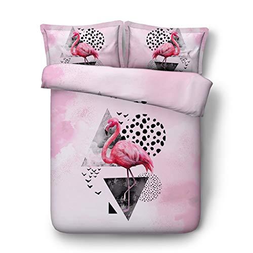 Mädchen Flamingo Print Bettbezug Set für Kinder Teens Rosa Tier Blume Green Leaf Bettwäsche Set mit Reißverschluss Tropische Pflanzen Tröster (Farbe : Duvet pink, größe : Single/Twin) -