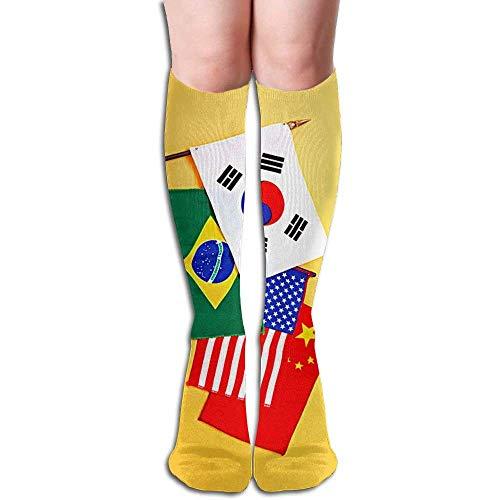Preisvergleich Produktbild Voxpkrs Women's Flag Sexy Stockings Over The Knee Athletic Women Sexy High Knee Long Socks Cushion Outdoor Hiking Walking Stocking S31