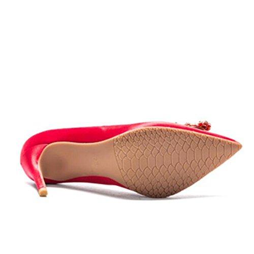L@YC® Tacchi alti Femminili Con Punte Punta a Punta Laterale Della Bocca Side Single Comfortable Dance Sandals Red