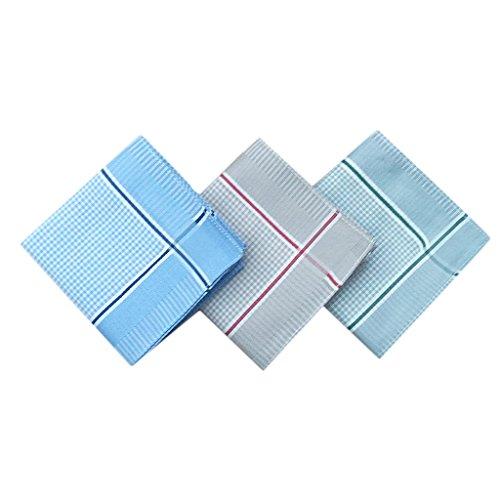 MagiDeal 12Pcs/Set Mens Wedding Party Office Clothing Check Design Pocket Square Cotton Handkerchiefs Hanky Style 2