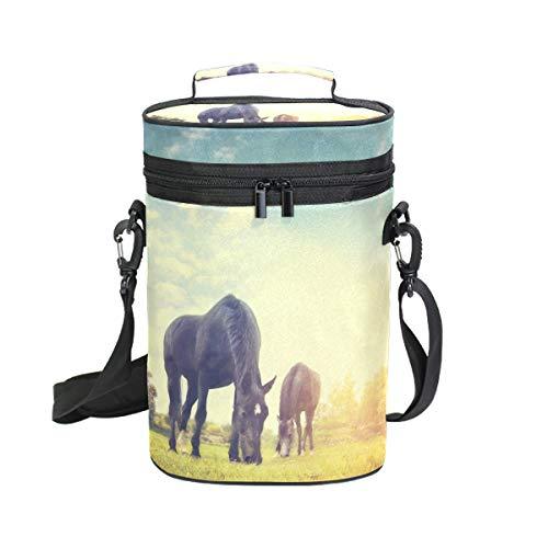 DEZIRO Picknick Weinkühltasche Pferd Eden inkl. Wein-/Wasserflasche Tragetasche 2 Stück Weintasche Reisetasche