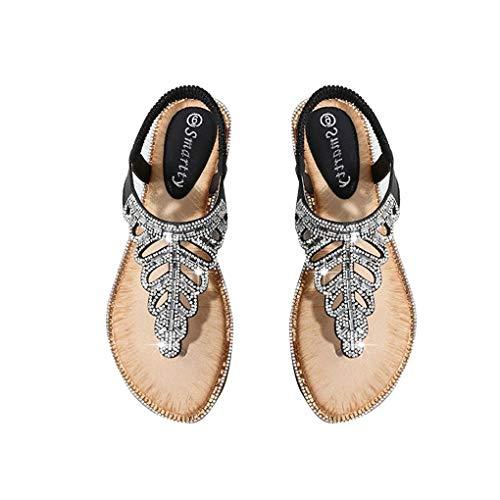 Mengonee Frauen-böhmische Sandalen Exquisite Blatt Strass Wulstige Sandelholz-Strand-Toe Keilabsatz Sommer-Schuhe