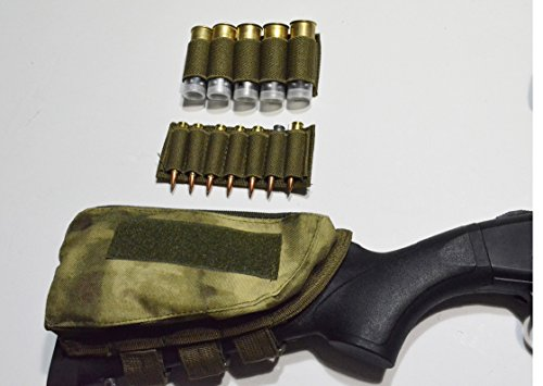 Acid Tactical® Schulterstütze Rifle Shotgun Shell Halter Rest & Backentasche FG Camouflage Grün