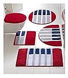 heine home Badematte Badteppich XXL mit Streifen in Rot/Blau/Weiß (Gr. 5 = 80 x 150 cm)
