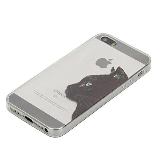Coque [ iPhone SE/5S/5 ],Etsue TPU Gel Doux Coque Housse étui pour iPhone SE/5S/5,Etui de Protection Cas Ultra-Mince Transparent Bumper Cover pour iPhone SE/5S/5,Anti-rayures Peint Motif Vogue Case Co Chat Noir