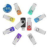 Paquet de 10 Clés USB 2.0 16 Go, Stylet Pivotant, Bâtons de Mémoire, Stockage Pliable, 10 Couleurs