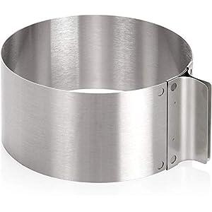 Wenco Tortenring mit verstellbarem Durchmesser von 16 bis 30 cm, Rostfreier Edelstahl, Silber, 541718