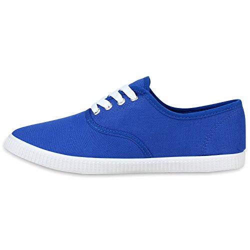 Herren Sneakers Low Profilsohle Freizeit Turnschuhe Schnürer Blau