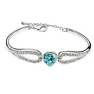 Kaily Femme Bijoux fantaisie Set coeur autrichienne bracelet(bleu de l'océan)