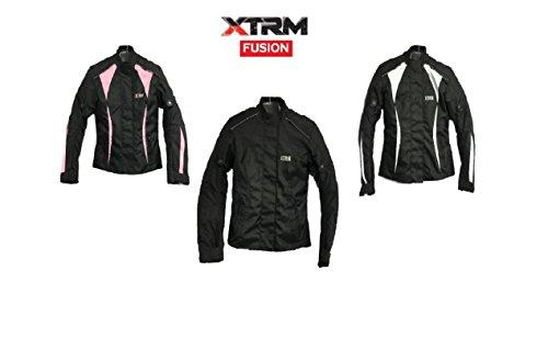 #Damen Motorradjacke XTRM Fusion Frauen Wasserdicht Cordura Textil Motorradjacke Mit Protektoren 3 Farbe (M, SCHWARZ)#