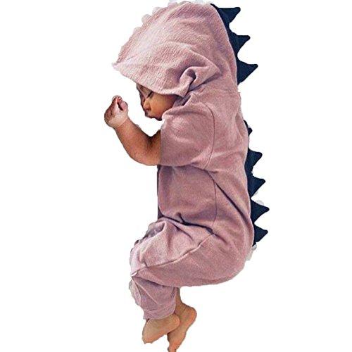 BriskyM Baby-Kleinkind-Jungen-Mädchen-Dinosaurier-Spielanzug-Overall-Halloween-Kostüme (Rosa, 0-3 Months) (Dinosaurier Kleinkinder Halloween-kostüme)