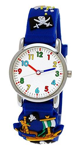 Pure Time® Kinder-Uhr Mädchen-Uhr für Kinder Jungen-Uhr Silikon-Kautschuk Armband-Uhr Uhr mit 3d Piraten Motiv Blau