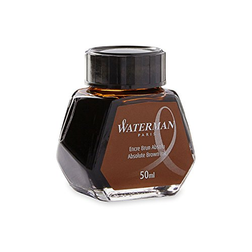 Waterman (S0110830) Flacone di Inchiostro per Penna Stilografica, 50 ml, Marrone Assoluto