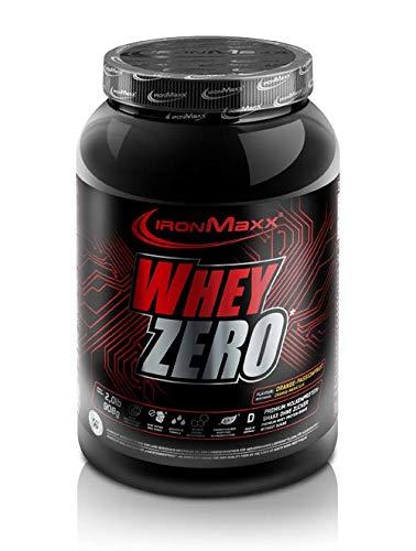 IronMaxx Whey Zero Protein, Orange-Maracuja - Molkenprotein mit 97 % Whey Anteil - Zuckerfreies Protein Isolat für den Muskelaufbau - 1 x 908 g Pulver - 100% Whey Protein Erdbeere