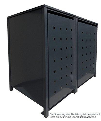 BBT@ | Hochwertige Mülltonnenbox für 2 Tonnen je 240 Liter mit Klappdeckel in Schwarz (RAL 9005) / Stanzung 5 / Aus stabilem pulver-beschichtetem Metall / Verschiedene Farben + Blech-Stanzungen erhältlich / Mülltonnenverkleidung Müllboxen Müllcontainer