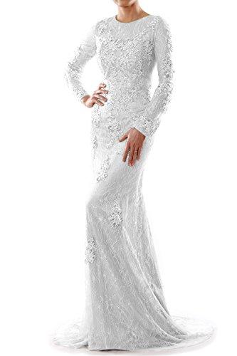 MACloth - Robe - Trapèze - Manches Longues - Femme Blanc - Blanc