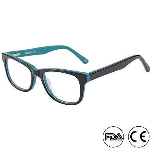 Blaulicht Schutz Computer Lesebrille Gaming Brille für Kinder - 0.0 Vergrößerung - Anti Blaulicht 90% UV-Schutz Geringe Farbverzerrung, klassischer schwarzer und grüner Rahmen (TK4002C1 BLAU/GRÜN)