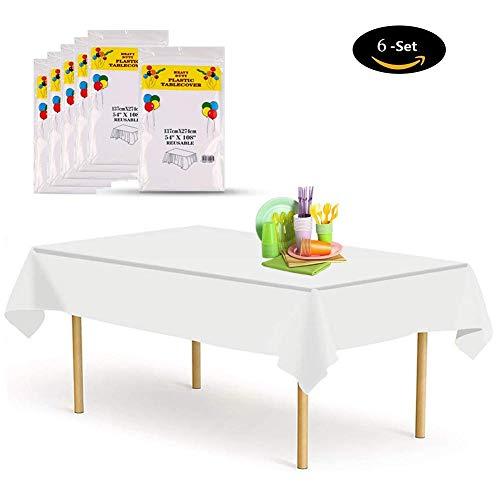 Etmury Tischdecke Einweg [6 Set], 137x274cm Tischdecke Plastik Garten Tischdecke Rechteckig Tischtuch Ideal für Parteien Feste Hochzeit, Indoor Outdoor Einweg Tischdecke Weiß