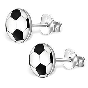 Bungsa FUSSBALL Kinder-Ohrstecker Silber 925 – niedliches Ohrringe SET mit Fußball – für Jungen, Mädchen & Kinder – Ohrringe zum Stecken aus Sterling Echtsilber – Fussball Ohrschmuck für Kinder
