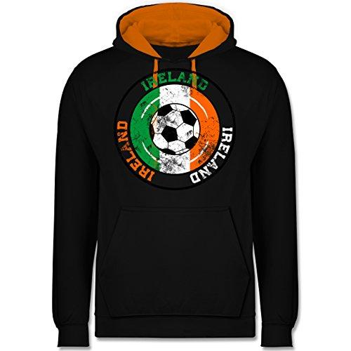 Fußball - Ireland Kreis & Fußball Vintage - Kontrast Hoodie Schwarz/Orange