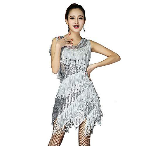 tin Dance Dress Frauen ärmellose Oansatz Pailletten Fransen Quasten Latin Dance Kleid Sway Dance Cocktail Flapper Kleid Performance Kostüm Rhythm Tango Ballroom Dancewear ()