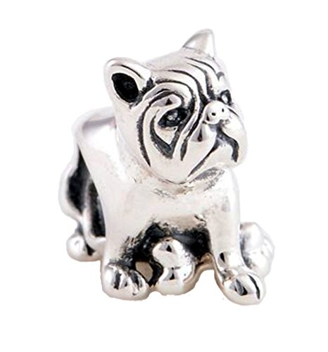 Dogs Stars Bulli mit Knochen - Damen Bead - für Pandora Schmuck oder ähnlichem- 100% 925 Sterling Silber -