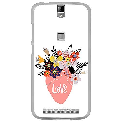 BJJ SHOP Transparent Hülle für [ Elephone P8000 ], Klar Flexible Silikonhülle, Design: Blumentopf mit Blumen in Form eines Herzens, Love