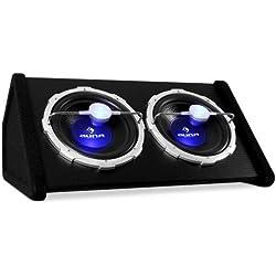 """auna Double Caisson de Basses (Performance de 2 x 1000W, Effet de lumière Flashy, 2 x Caisson de Basses de 12""""(30cm), revètement de Feutre résistant, LED Bleu)"""