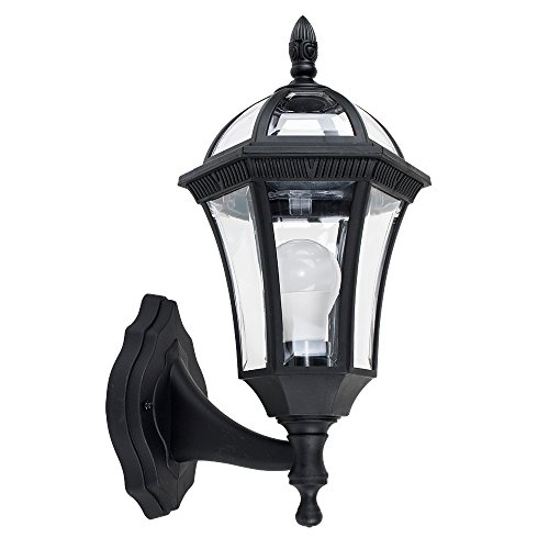 MiniSun - Tradicional lámpara farol de pared \'Hayfield\' para exterior - de seguridad, IP44, en color negro