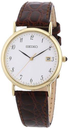 Seiko SKK700P1 – Reloj analógico de caballero de cuarzo con correa de piel marrón – sumergible a 30 metros